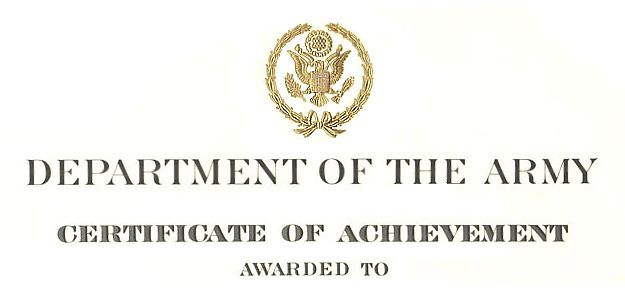 Army Certificate of Achievement Citation Examples