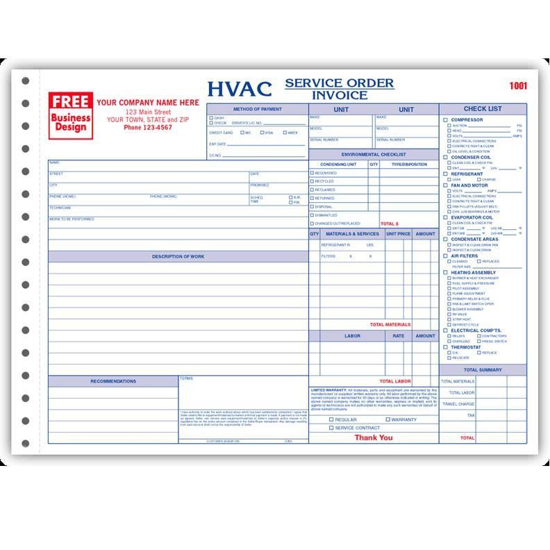 HVAC Contractor Invoice Form - Custom Form Printing | DesignsnPrint