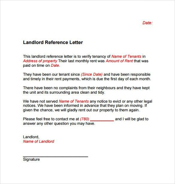 Landlord Reference Letter Template - 10+ Samples , Examples & Formats