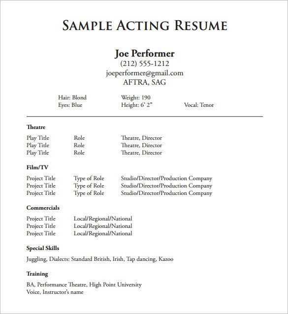 Download Acting Resume Template | haadyaooverbayresort.com