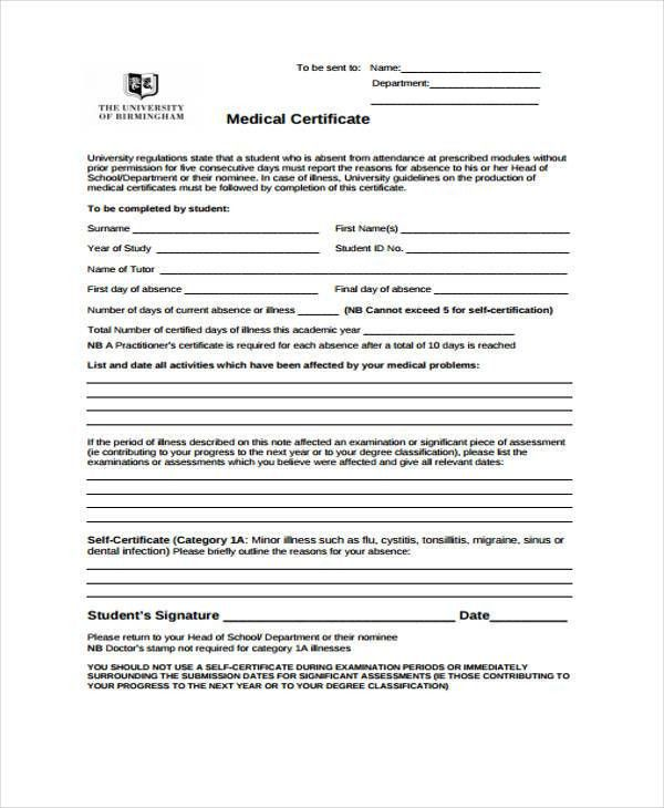 Medical Certificate For School. Certificate Of Leave Of Absence ...