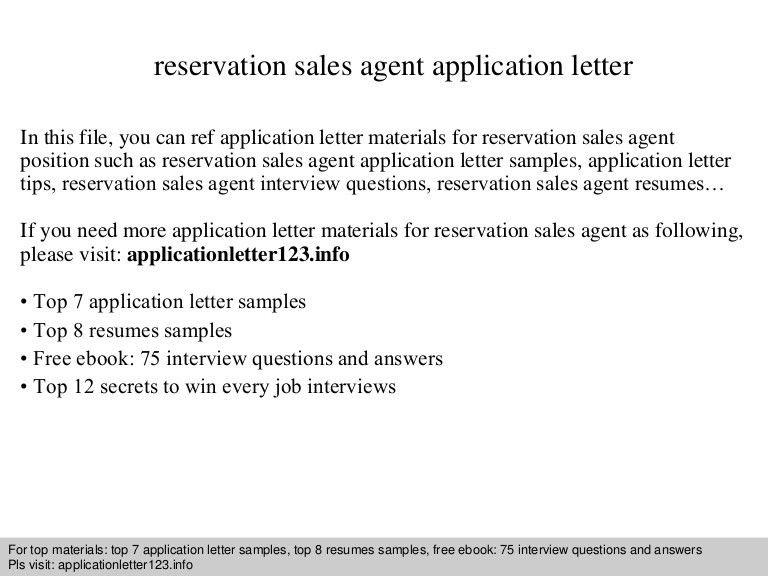 Reservation sales agent application letter