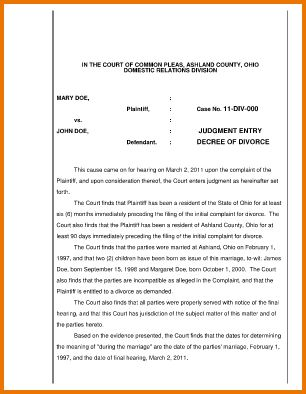 6 sample divorce decree | Divorce Document