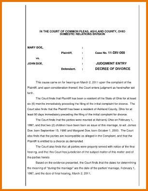 6 sample divorce decree | Divorce Document