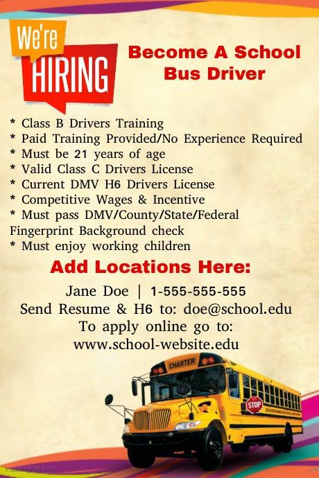 Now Hiring Bus Drivers template | PosterMyWall