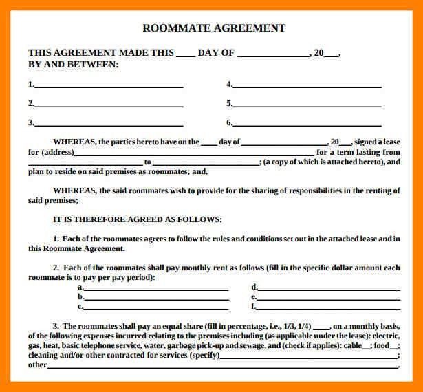 12+ roommate agreements | student resume template