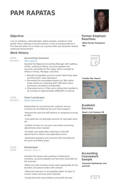 Accounting Assistant Resume samples - VisualCV resume samples database
