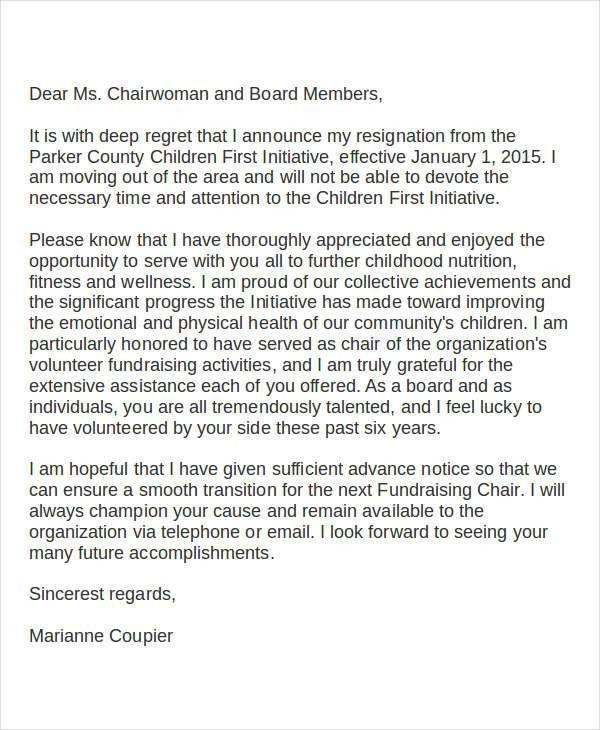 Volunteer Resignation Letter Template 6+ Free Word, PDF Format ...