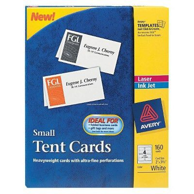 Avery® 2 x 3 1/2 Small Tent Cards - White (160 Per Box) : Target