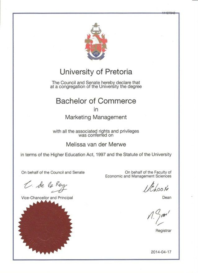 of Commerce in Marketing Management Certificate