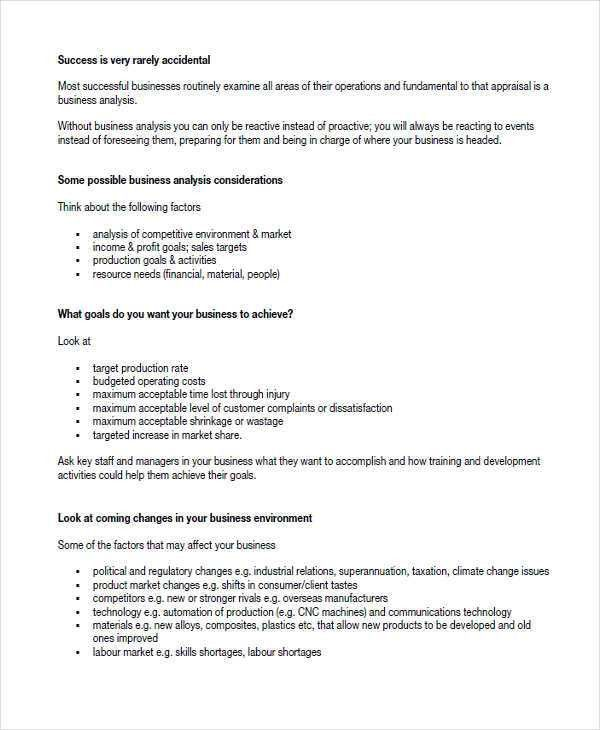 Sample Business Analysis. 16 Business Analyst Manager Performance ...