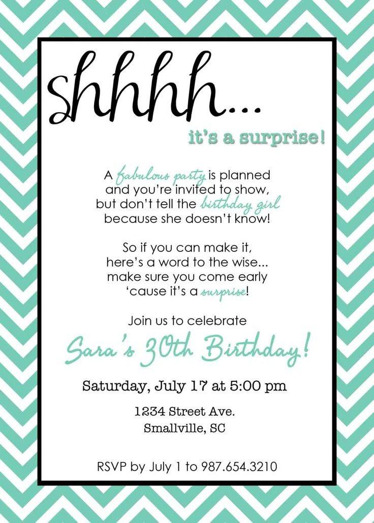 Suprise Birthday Party Invitations - vertabox.Com