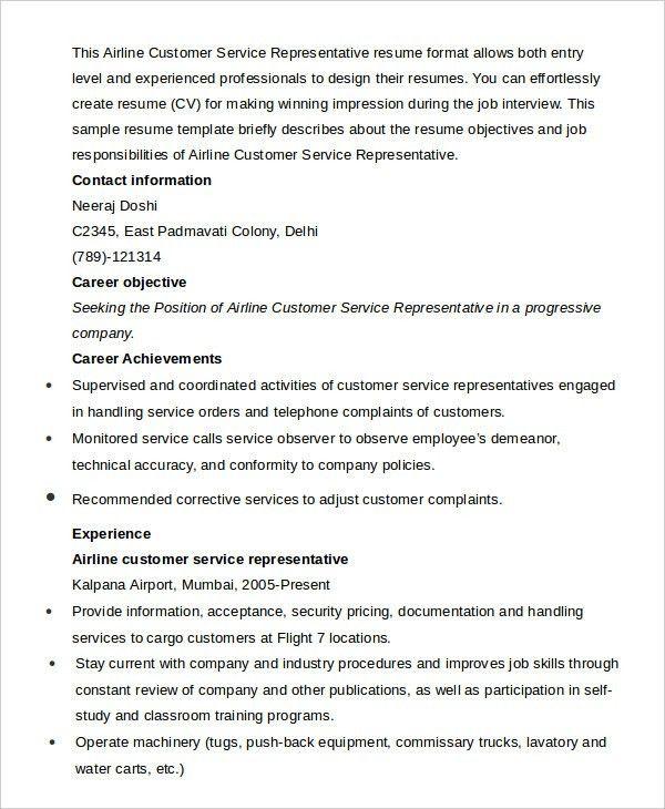 Customer Service Representative Resume - 9+ Free Sample, Example ...
