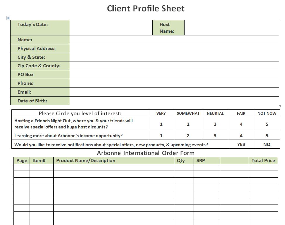 13 Best Images of Customer Profile Template Printable - free ...