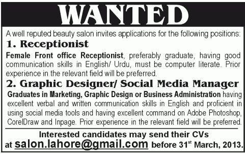 Media Manager Job, Beauty Salon Job, receptionist, Graphic ...