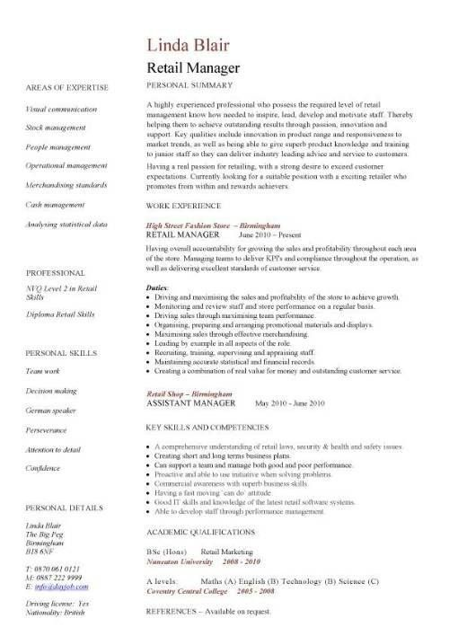 Retail Manager Resume Examples | Template Idea