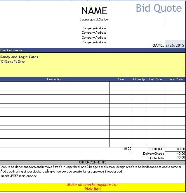 Sample Builder Quotation. Free Download Contractor Estimate ...