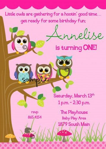Owl First Birthday Invitations Template | Best Template Collection