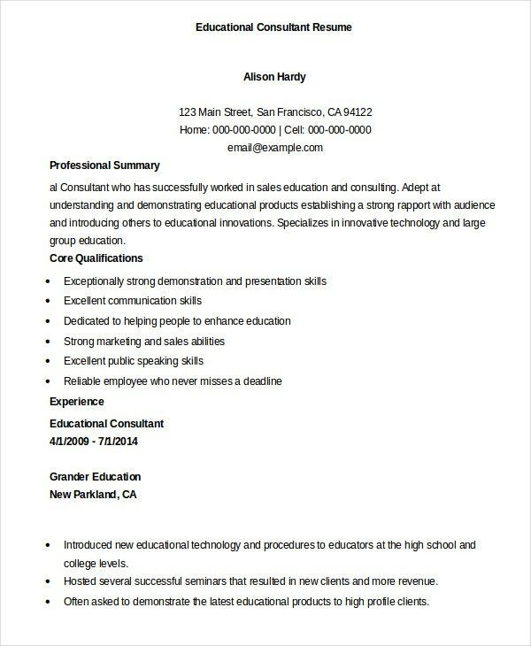 Education Resume Template - 9+ Free Sample, Example, Format | Free ...
