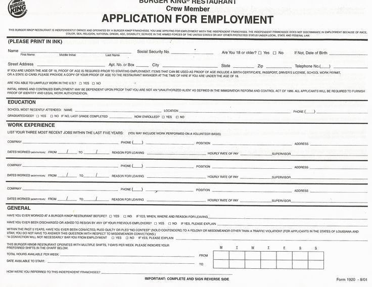 Printable Employment Application. Free Printable Job Application ...