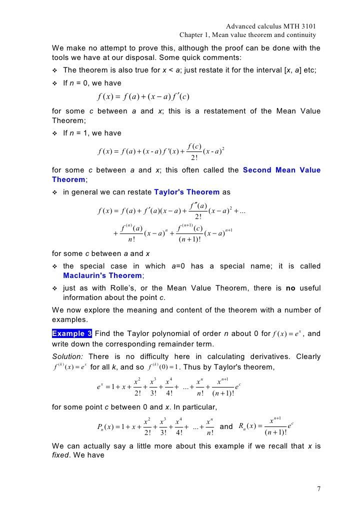 Mth3101 Advanced Calculus Chapter 1