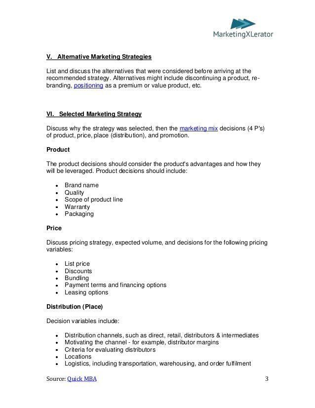 Basic Marketing Plan Template (by QuickMBA.com)