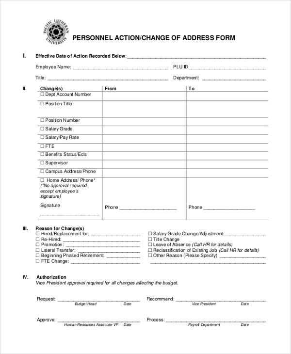 9+ Sample Personnel Action Forms - Free Sample, Example, Format