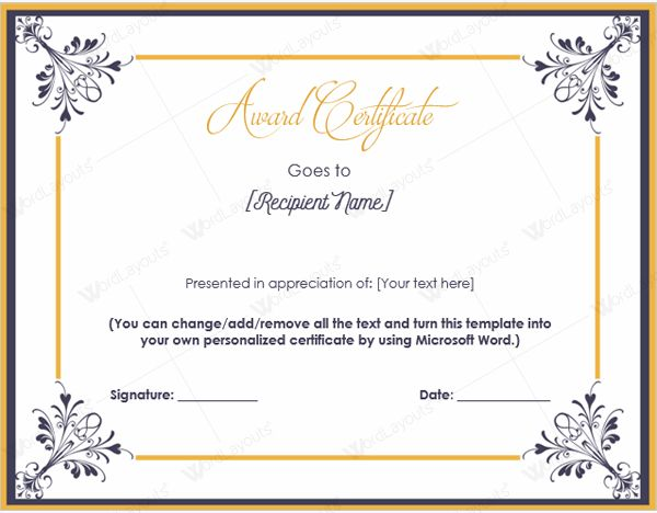 Templates of Award Certificates | Certificate Templates