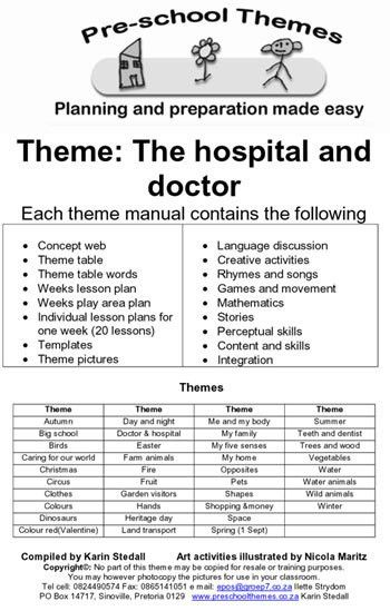 Preschool themes example | Lesson plans for South African teachers