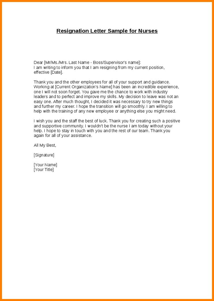 Resignation Letter : Example Resignation Letter Thank You Writing ...