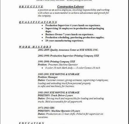 construction worker sample resume Sample Resume Construction ...