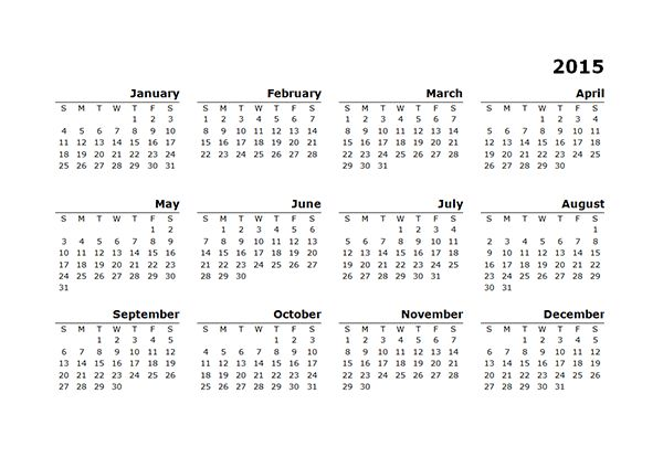 2015 Yearly Calendar Template 10 - Free Printable Templates