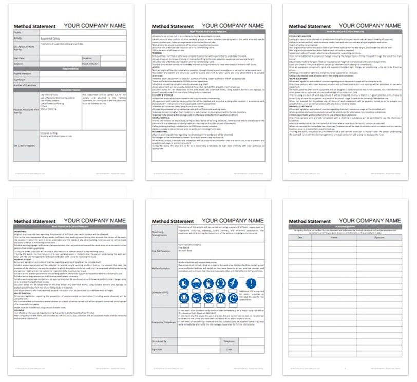 Blank method statement template - Free | Darley PCM