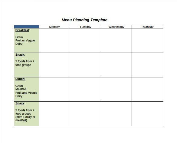 Sample Menu Planning Template   9+ Free Documents In PDF, Word