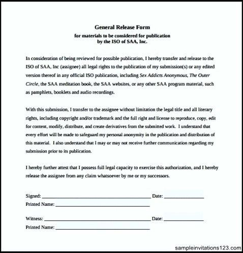 General Release Template Sample General Release Form Blank – General Liability Waiver Template