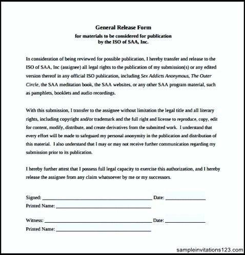 General Release Template] Sample General Release Form Blank ...