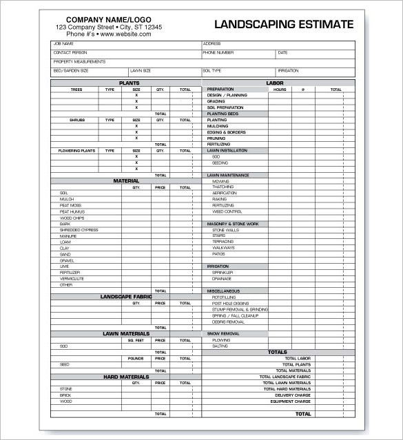6+ Landscaping Estimate Templates – Free Word, Excel & PDF ...