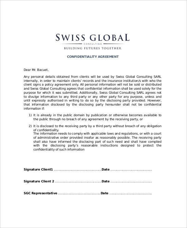 12+ Client Confidentiality Agreement Templates – Free Sample ...