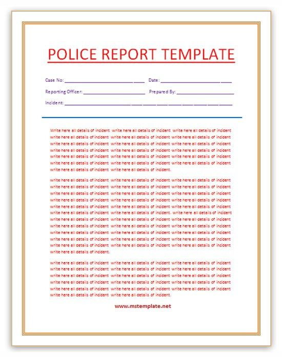 Free Word Templates: Police Report Template