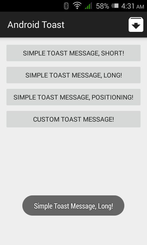Toast Example for Android - Android Apps on Google Play