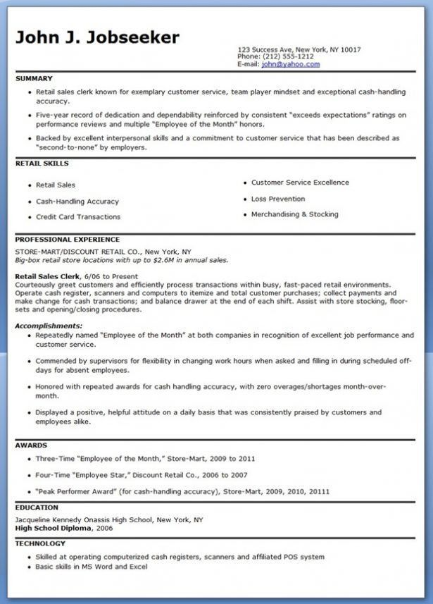 Resume Example For Retail Sales Associate - Templates