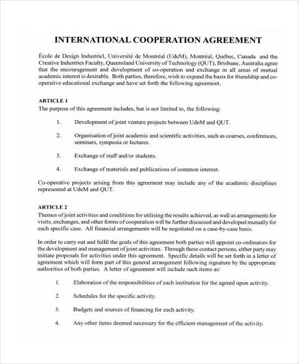 10 Cooperation Agreement Templates - Word, PDF Format Download ...