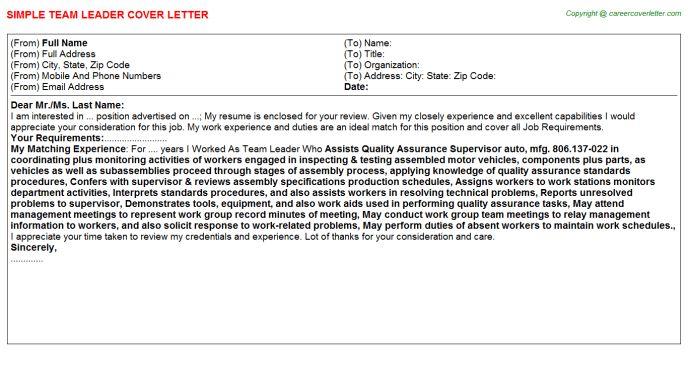 Team Leader Cover Letter Sample