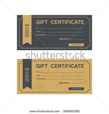 Voucher Gift Certificate Coupon Template Stock Vector 312314675 ...