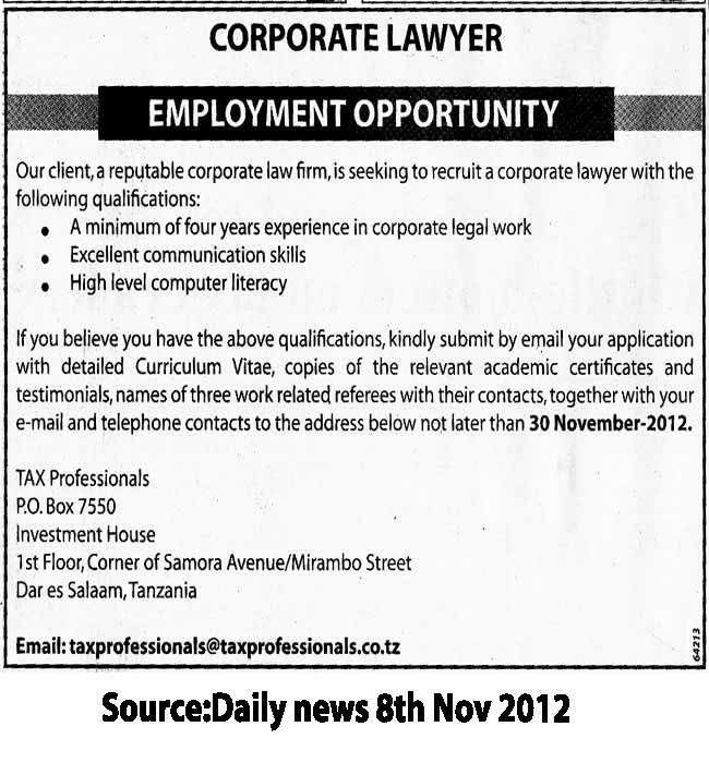 Corporate Lawyer | TAYOA Employment Portal