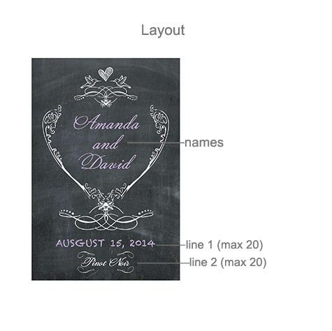 Chalkboard Love Birds Personalized Wine Label - 8 pcs - Wine ...