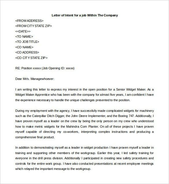 Letter Of Intent For A Job – 10+ Free Word, PDF Documents Download ...