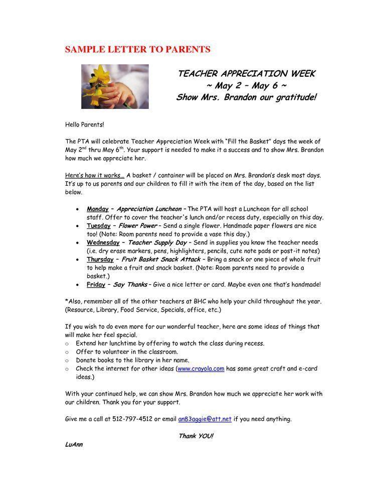 teacher appreciation sample letters