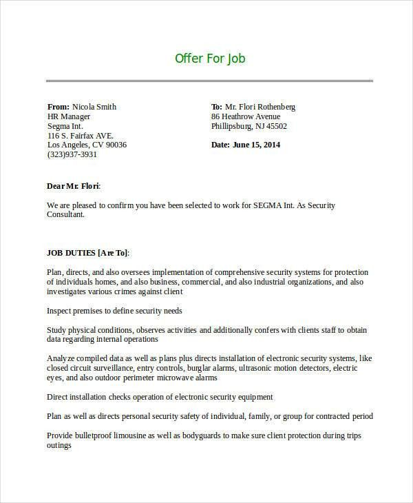 Consultant Offer Letter Templates - 7+ Free Word, PDF Format ...
