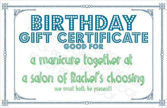 10+ Sample Birthday Gift Certificate Templates - Sample, Example ...